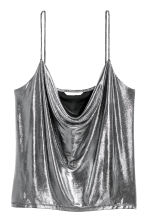 Draped top - Silver-coloured/Coated - Ladies | H&M IE 2