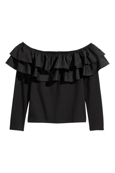 H&M+ Flounced top - Black - Ladies | H&M