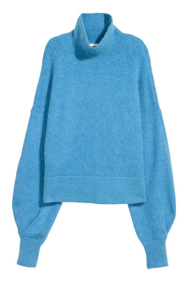 Mohair Blend Polo Neck Jumper Blue Ladies Hm Cn