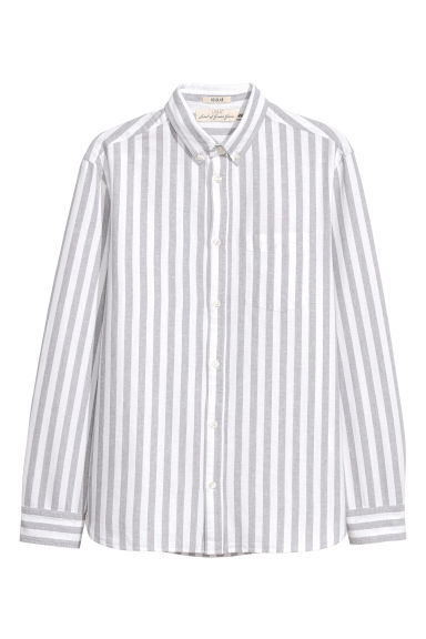 Oxford shirt Regular fit - White/Grey striped -  | H&M CN