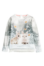 Lace-trimmed jersey top - Natural white/Rabbits -  | H&M CN 2