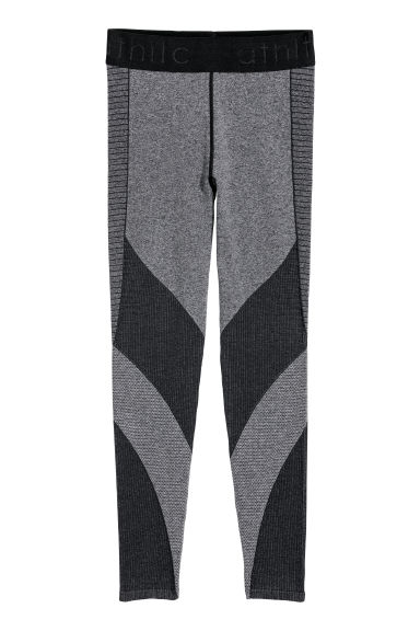 Seamless sports tights - Black/Block coloured -  | H&M