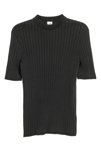 T-shirt a costine - Nero - UOMO | H&M IT