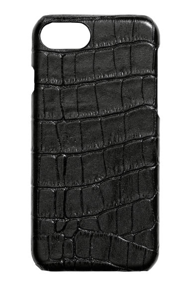 Leather iPhone 6/8 case - Black/Crocodile-patterned - Ladies | H&M
