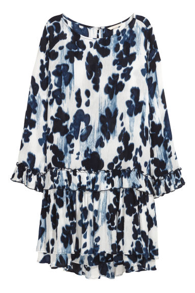 Crinkled dress - White/Dark blue - Ladies | H&M CN