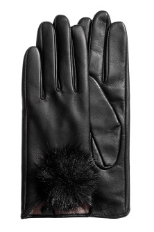 Leather gloves with pompoms