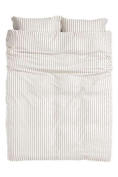 Striped duvet cover set - Natural white/Grey striped - Home All | H&M GB