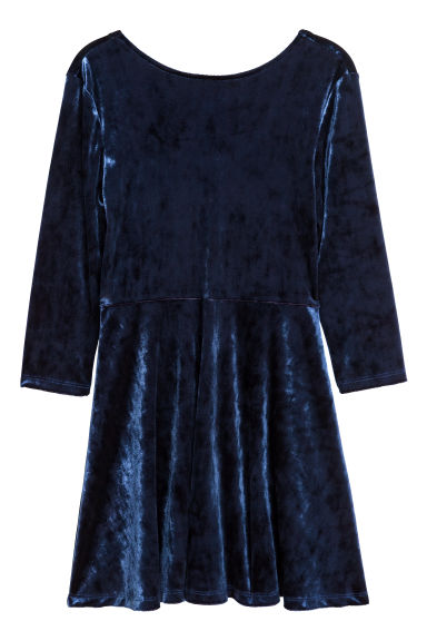Long-sleeved velour dress - Dark blue - Kids | H&M GB