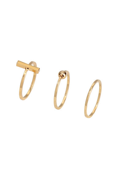 3-pack gold-plated rings - Gold-coloured -  | H&M IE 1