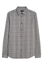 Checked cotton shirt - Black/White checked - Men | H&M IE 2