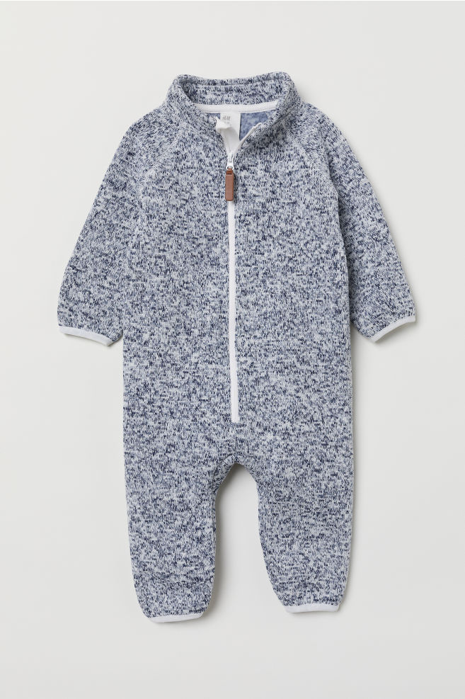 Knitted Fleece All In One Suit Dark Blue Marl Kids Hm In