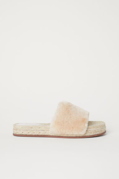 Faux fur slides - Light beige - Ladies | H&M CN