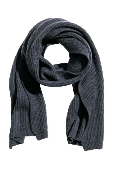 Ribbed cashmere scarf - Dark blue - Men | H&M