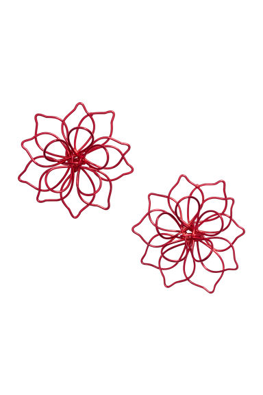 Flower-shaped earrings - Red - Ladies | H&M