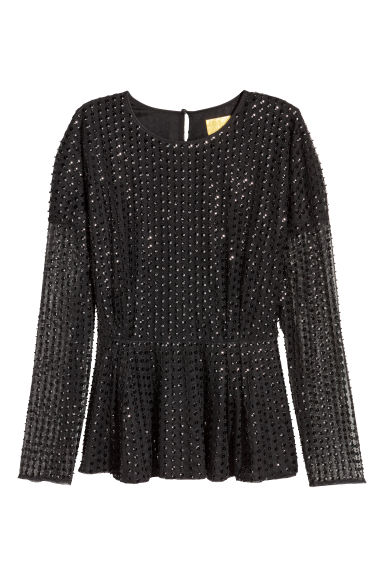 Sequined mesh top - Black - Ladies | H&M
