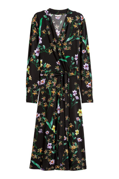 Jersey crêpe dress - Black/Floral - Ladies | H&M