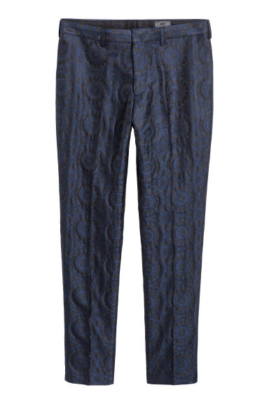 Tuxedo trousers Skinny fit - Black/Blue patterned - Men | H&M