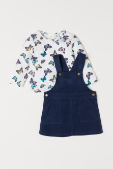 Jersey top and dungaree dress