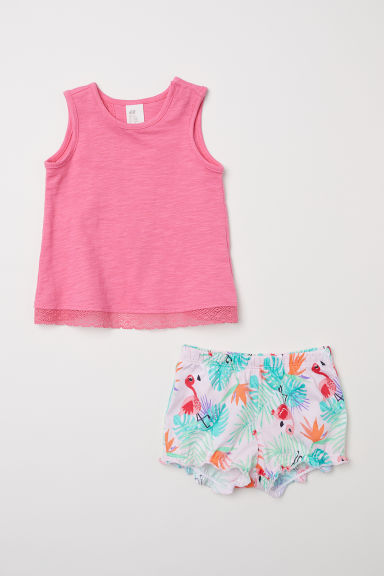 Jersey top and shorts - Pink/Flamingo - Kids | H&M CN