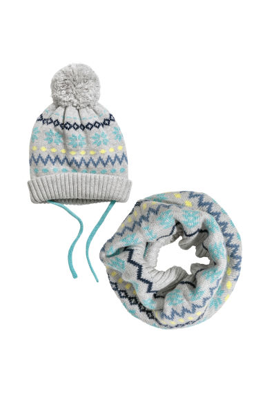 Hat and tube scarf - Gray - Kids | H&M