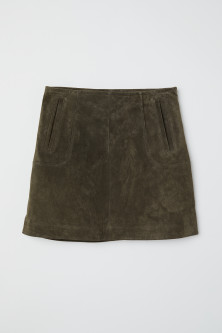 Short suede skirt