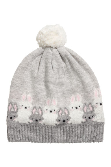Jacquard-knit hat - Light grey/Rabbits - Kids | H&M IE