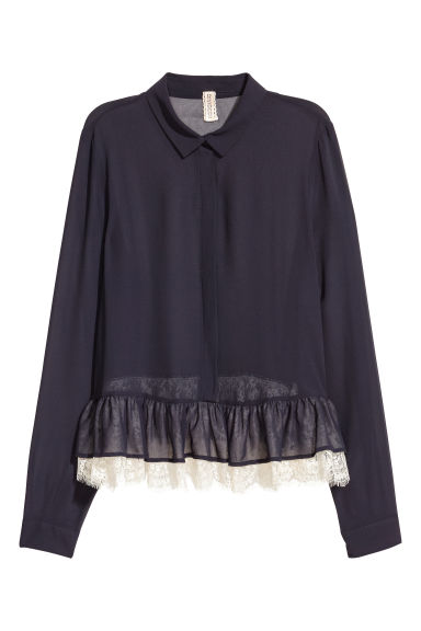 Blouse with a lace flounce - Dark blue -  | H&M