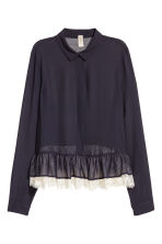 Blouse with a lace flounce - Dark blue - Ladies | H&M 2