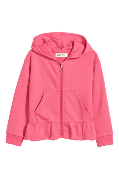 Hooded jacket with a flounce - Cerise -  | H&M CN