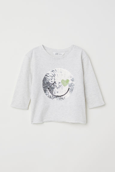 Jersey top with sequins - Light grey - Kids | H&M CN
