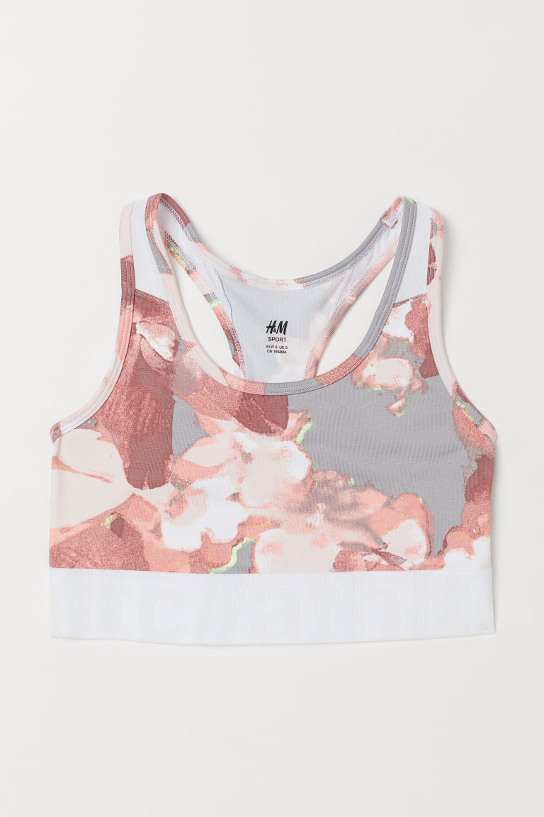 Sports bra Medium support - Light grey/Floral - Ladies   H&M GB