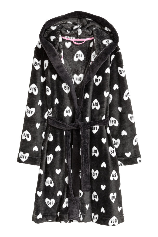 Fleece dressing gown - Dark grey/Hearts - Kids | H&M CN