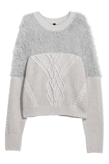 Cable-knit jumper - Light grey -  | H&M