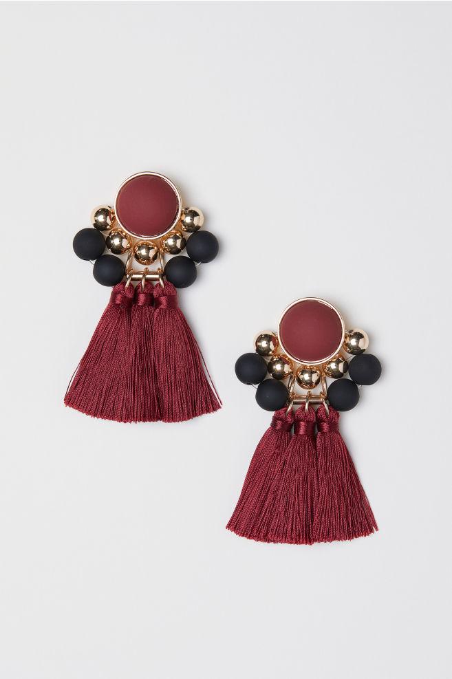 Earrings - Burgundy/gold-colored - Ladies | H&M US 1