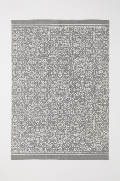 Patterned cotton rug - Grey - Home All | H&M CN