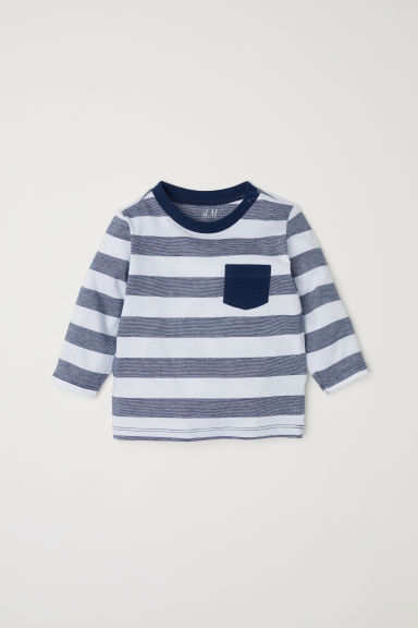 Long-sleeved T-shirt - Dark blue/Striped - Kids | H&M CN