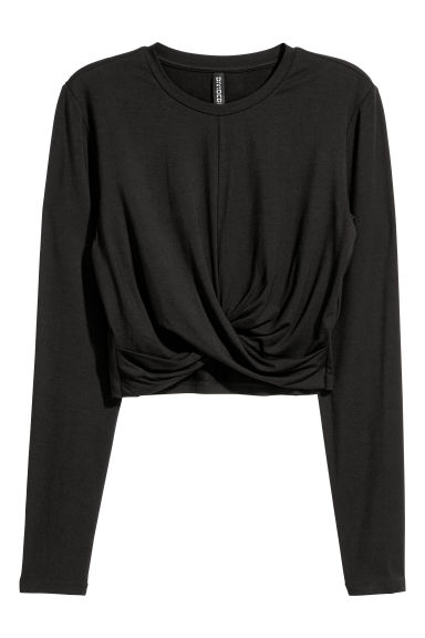 Top corto in jersey - Nero - DONNA | H&M IT