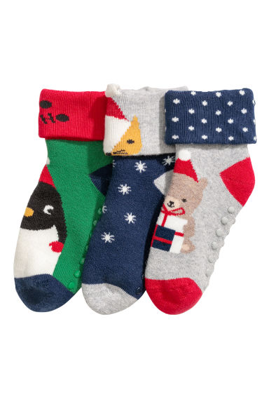 3-pack terry socks - Dark blue/Christmas - Kids | H&M GB