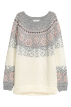 Jacquard-knit jumper - White/Grey - Ladies | H&M 2
