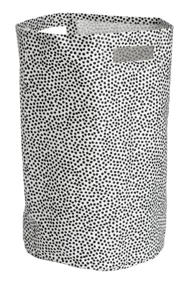 Spotted laundry basket - Natural white/Black spotted - Home All | H&M GB