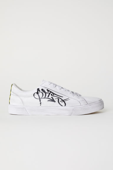 Trainers with a text print - White/Graffiti - Men | H&M CN