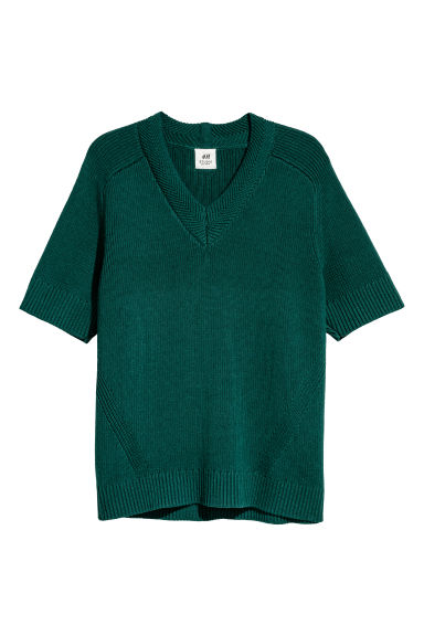 Textured-knit jumper - Dark green - Men | H&M