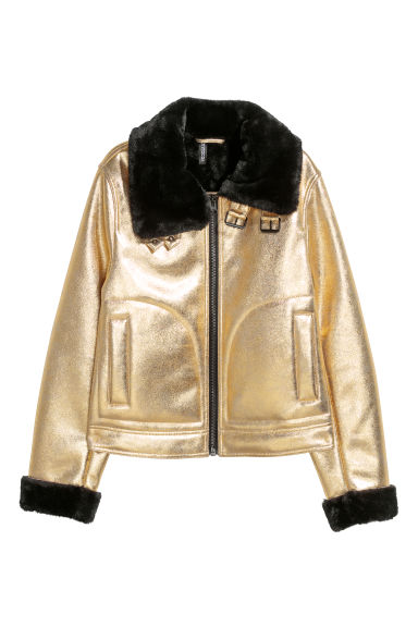 Faux fur-lined jacket - Gold-coloured/Black - Ladies | H&M