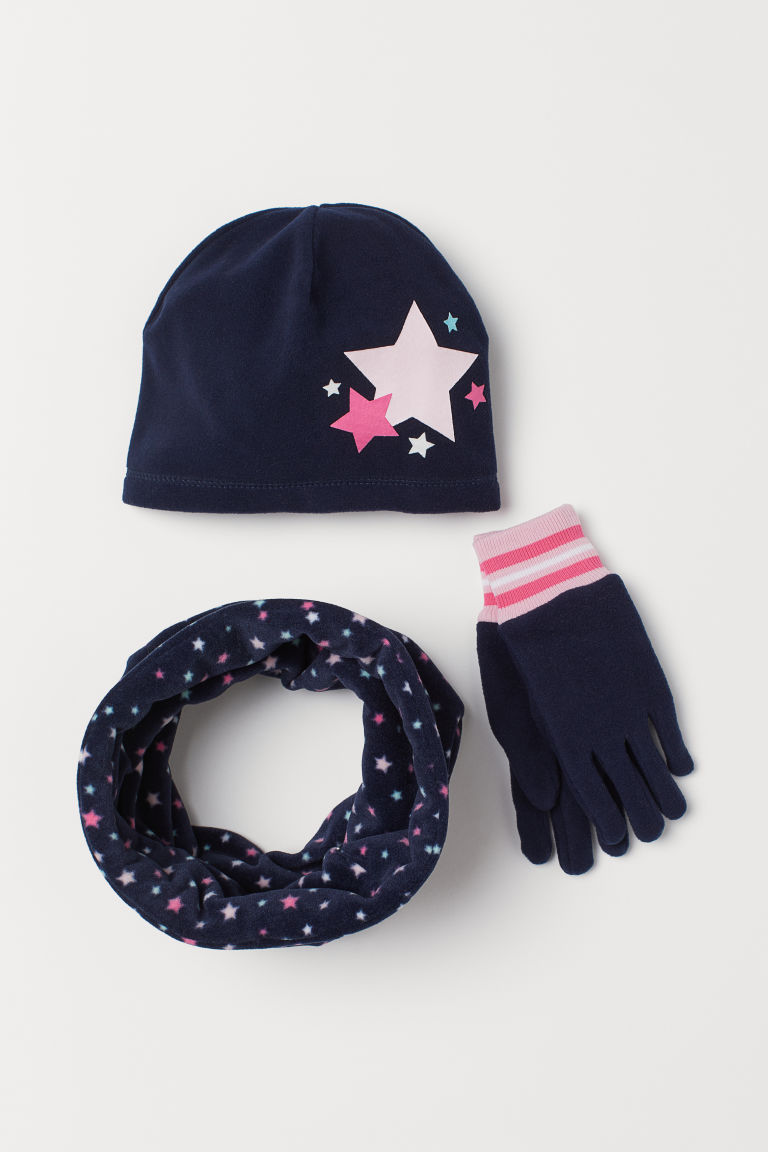 3-piece fleece set - Dark blue/Stars - Kids | H&M GB