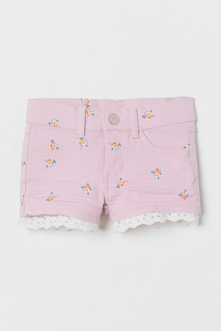 Lace-trimmed Twill Shorts