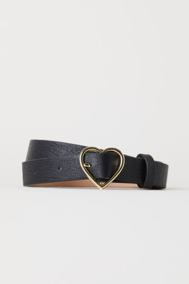 Belt with heart-shaped buckle - Black - Ladies | H&M