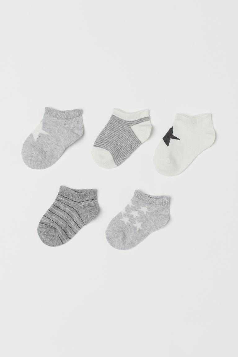 5-pack trainer socks - Light grey/Star - Kids | H&M GB