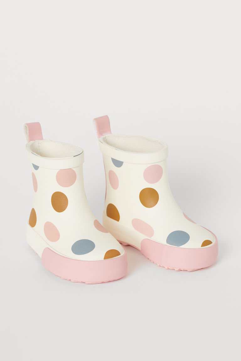 Patterned wellingtons - Natural white/Spotted - Kids | H&M GB