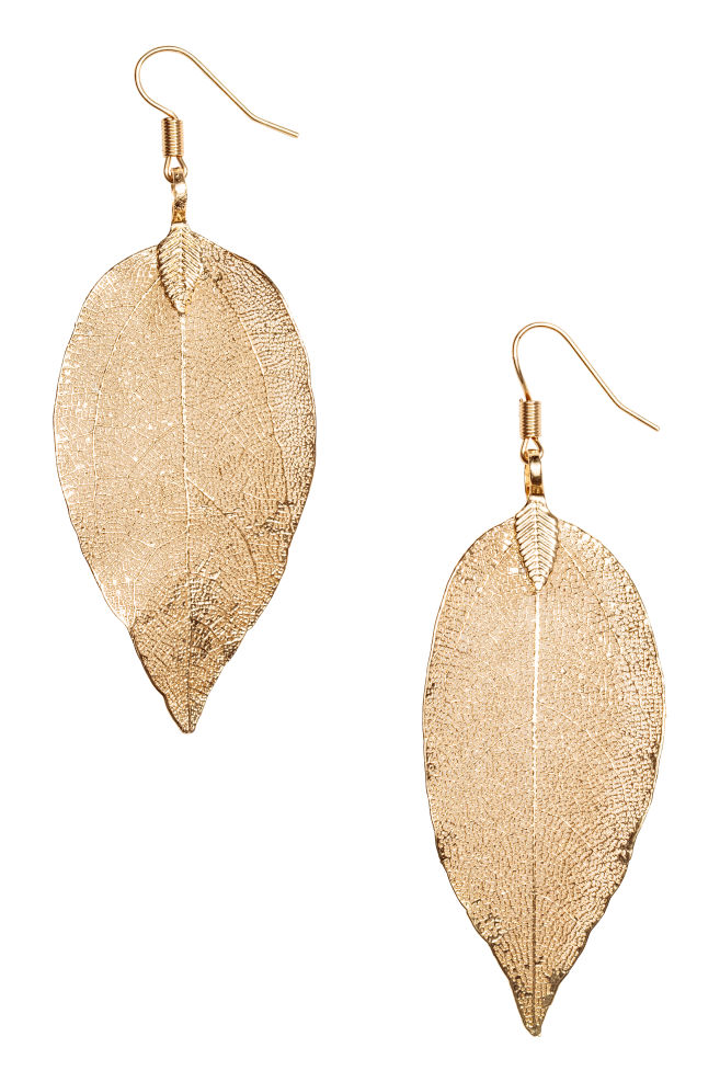 Leaf-shaped earrings - Gold-coloured - Ladies | H&M IN 1
