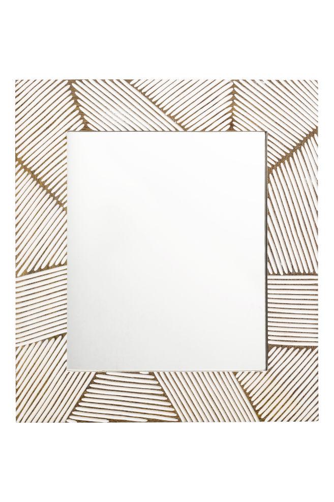 Spiegel mit Holzrahmen - Weiß - | H&M AT